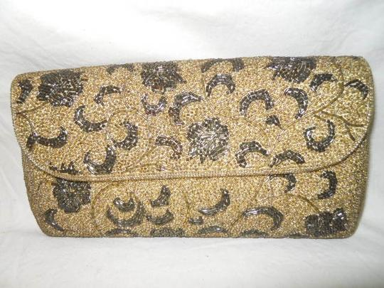 Fuji Hand Made Gold,Pewter Clutch Image 0