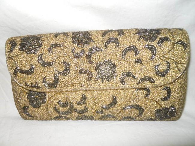 Vintage Hand-made Gold Pewter Beaded Clutch Vintage Hand-made Gold Pewter Beaded Clutch Image 1