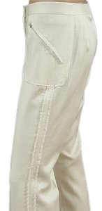 Tuleh Sparkle Wool Wide Leg Pants Ivory
