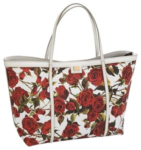 Dolce&Gabbana Floral Rose Dolce Gabbana Leather Tote in white and red