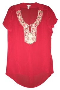 Chico's Coral Orange Embellished Tunic