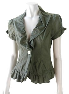 Ashley By 26 International Olive Cap Sleeve Cotton Casual Fittted Blazer Army Green Jacket