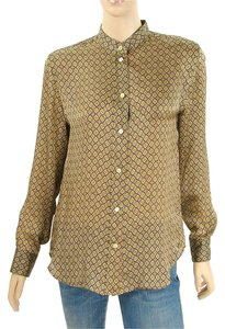 Chloe Print Animal Print Silk Button Down Shirt Tan, Caramel