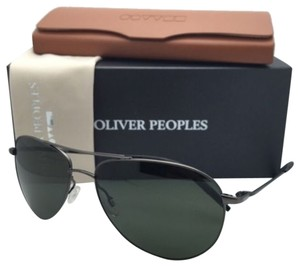 Oliver Peoples New OLIVER PEOPLES Sunglasses BENEDICT OV 1002S 5016/R5 Gunmetal Aviator Frame w/Green Lenses