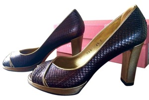 Caligarius Python Peep Toe Platform Lame Bronze and Gold Pumps