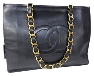 Chanel Paris Made In France Guaranteed Leather Handbag Hand Carryall Carry All Keepall Carry On Jumbo Jumbo End Tote in Black
