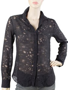 Cushnie et Ochs Sheer Fishnet Checkered Button Down Shirt Black