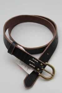 Banana Republic Banana Republic Women Fashion Belt Narrow Black Leather Gold Buckle