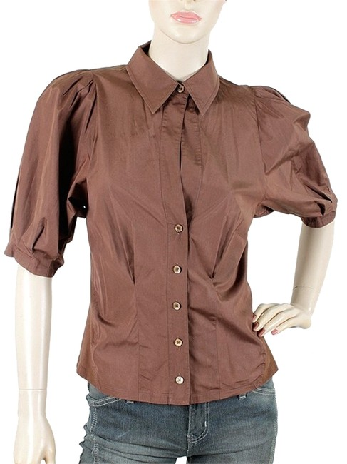 Preload https://img-static.tradesy.com/item/1089617/brown-short-puffy-sleeve-shirt-button-down-top-size-6-s-0-0-650-650.jpg