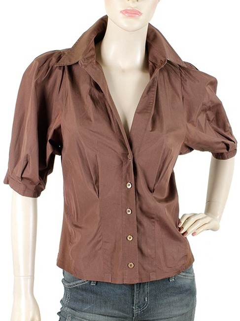 Donna Karan Collection Trumpet Cotton Puffy Button Down Shirt Brown Image 1