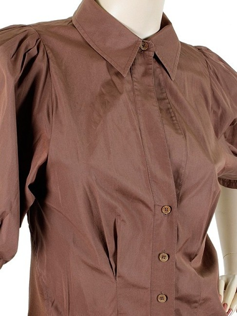 Donna Karan Collection Trumpet Cotton Puffy Button Down Shirt Brown Image 2