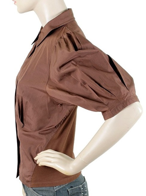 Donna Karan Collection Trumpet Cotton Puffy Button Down Shirt Brown Image 3