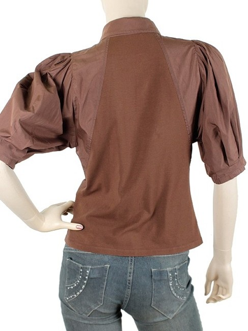 Donna Karan Collection Trumpet Cotton Puffy Button Down Shirt Brown Image 4