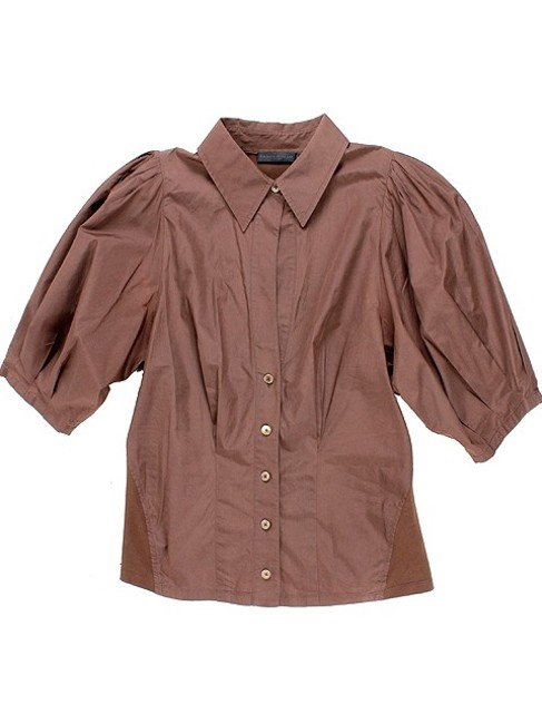 Donna Karan Collection Trumpet Cotton Puffy Button Down Shirt Brown Image 5