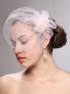 White Ivory Champagne Peach and Pink Blush. Birdcage Tulle Cap with Side Pouf & Swarovski Crystals Bridal Veil