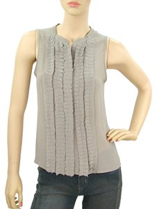 Fendi Sleeveless Pleated Chiffon Silk Top Grey