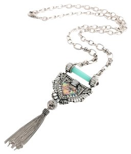 Other Irridescent Pave Stone Pendant Tassel Necklace
