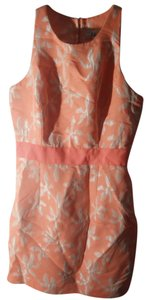 MILLY short dress Peach-Orange Floral Sheath on Tradesy