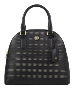 Tory Burch Robinson Perforated Round Shoulder Satchel in Black