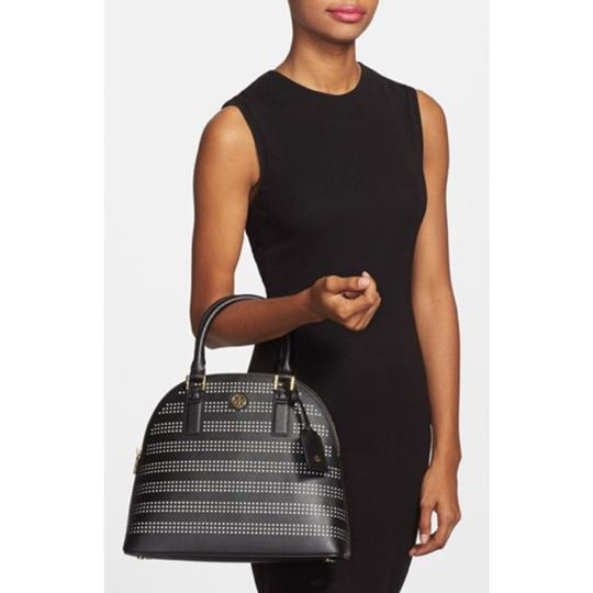 Tory Burch Robinson Perforated Round Shoulder Satchel in Black Image 1