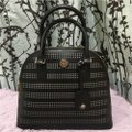 Tory Burch Robinson Perforated Round Shoulder Satchel in Black Image 2