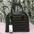Tory Burch Robinson Perforated Round Shoulder Satchel in Black Image 5