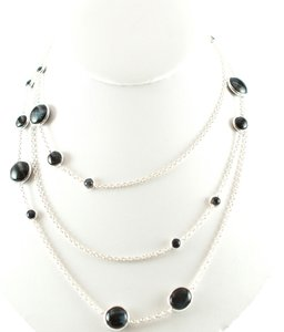 Ippolita IPPOLITA Silver Scultura Blue Tigers Eye Station Long Chain Necklace