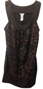 Studio Y Shimmer Animal Print Sleeveless Top Brown