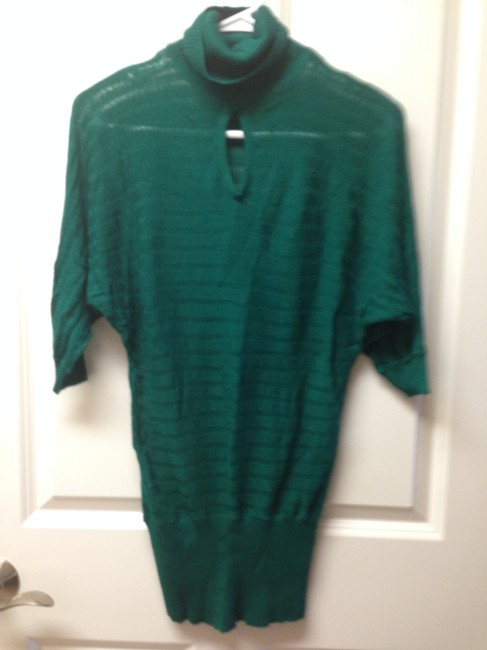 Dynamite Textured Sheer Knit High Neck Quarter Sleeve Top Turquoise