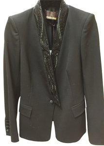 Roberto Cavalli Roberto Cavalli $3280.00 BLACK BEADED TUXEDO LAPEL Jacket Blazer +BAG S 6