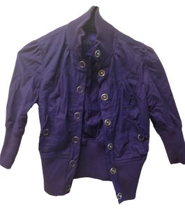 Miley Cyrus & Max Azria Elastic Buttons Quarter Sleeve Snap Button Purple Jacket
