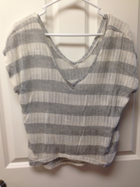 Dynamite Sheer Striped V-neck Sweater