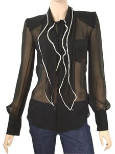 Jean-Paul Gaultier Pearl Mother Of Pearl Sheer Silk Chiffon Top Black