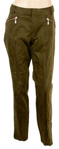 Nanette Lepore Casual Cotton Ankle Zip Skinny Pants Green