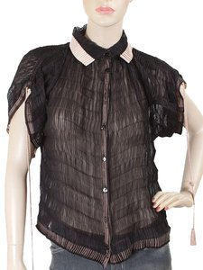 Jean-Paul Gaultier Sheer Pleated Braided Tassels Silk Top Black, Pink