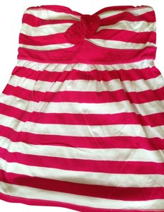 Hollister Striped Flowy Sweetheart Strapless Summer Top Pink and White