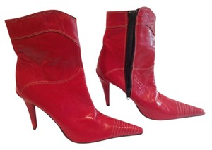 Maren White Stitching On Leather Leather Made In Italy Red Boots