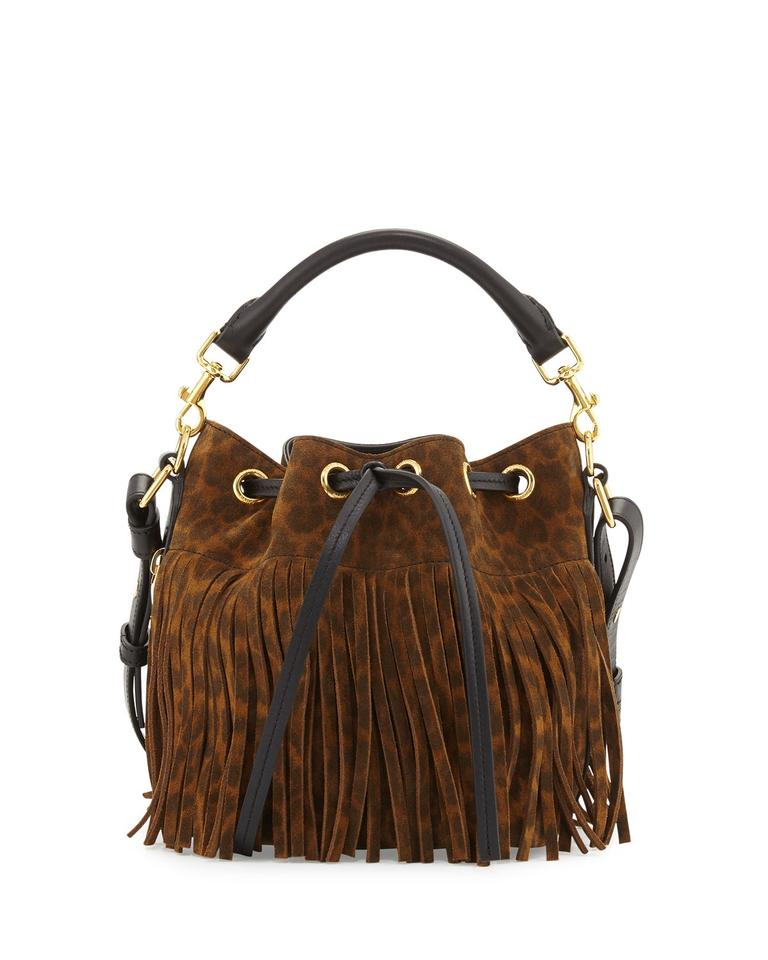 3f817728ee Saint Laurent Emmanuelle Fringe Leopard Print Small Bucket Brown Suede  Leather Shoulder Bag