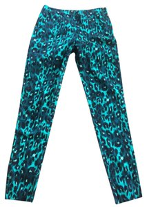 French Connection Skinny Pants Green animal print