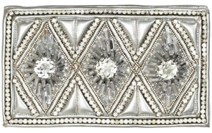Balmain x H&M Beaded Leather Silver/white Clutch