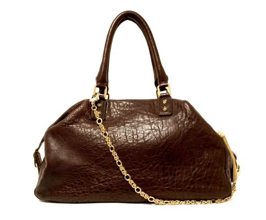 Monica Chiang Leather Gold Hardware Satchel in BROWN Image 1