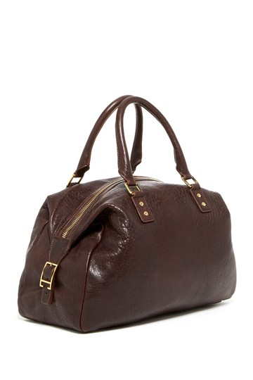Monica Chiang Leather Gold Hardware Satchel in BROWN Image 3