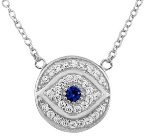 9.2.5 Rare white and blue sapphire evil eye necklace. sterling silver. 18 inch.