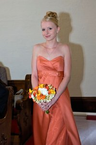 David's Bridal Burnt Orange Satin A-line Gown with Organza Inset Style # 12904 Formal Bridesmaid/Mob Dress Size 4 (S)
