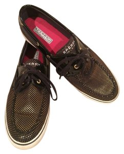 Sperry Patent Leather Polka Dot Black & Gold Flats