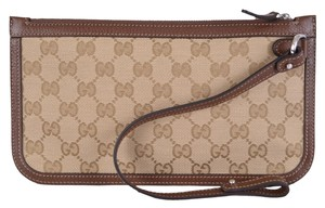 Gucci New Gucci Men's 379016 Beige Brown Original GG Guccissima Canvas Zip Top Pouch