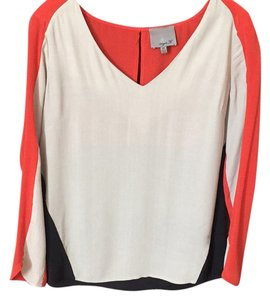 Aryn K Color-blocking Silk Top Beige, Orange, Black
