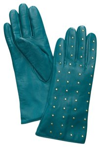 Tory Burch NEW TAGS Tory Burch Teal Gold Studded Leather Gloves 7 NWT!