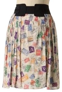 Anthropologie Edme & Esyllte Pencil Postage Stamps Vintage Style Parisian Skirt