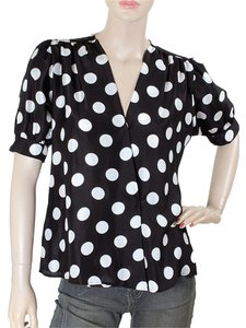 Moschino Polka Dot Color-blocking Silk Top Black, White